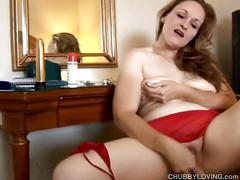 Cute chubby honey in red loves fucking her fat wet pussy