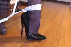 Bondage with sexy stockings & high heels (black 6inch pumps)