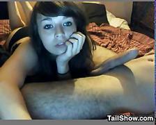 European cam girl sucking cock