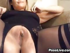 Naughty mom rubbing her pussy