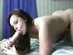 Thick white girl masturbates with a dildo