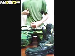 Soldier jerk off cumshot