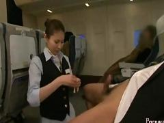 Japanese air hostess fuck in public with passenger