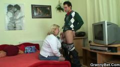 Huge grandma is picked up for cock sucking and riding