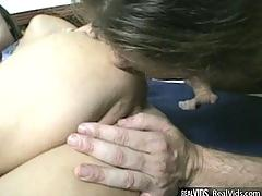 Hussy gets nailed hard and cum on face