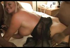Blonde slut with killer body creampied by blacks