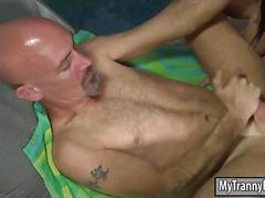 Ladyboy eva lin with big tits fucked bald guy by the poolside