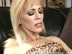 Blonde cougar takes cumshot