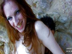 Naughty french redhead hard analyzed w cum2mouth on a beach