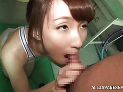 Japanese schoolgirl sucks cock in the gym