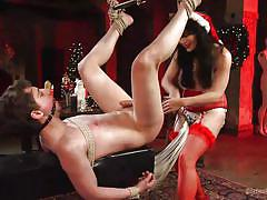 anal, femdom, strapon, whipping, red lingerie, santa claus hat, brunette babe, ball gag, rope bondage, divine bitches, kink, grayson, siouxsie q
