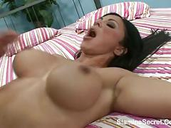 Big tits brunette got a facial cum2