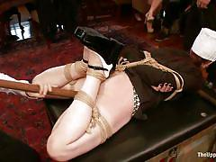 milf, bdsm, redhead, public, crying, sex party, tied up, table, ass spanking, stick with dildo, mom, the upper floor, kink, alani pi, beretta james, nerine mechanique