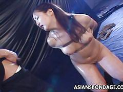 small tits, asian, piss, brunette, hairy pussy, piss in mouth, rope bondage, asians bondage