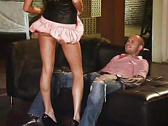 Slutty skirt blonde gives hot head