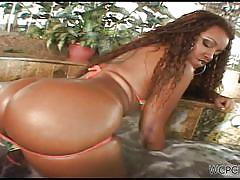 milf, ebony, blowjob, bubble butt, brunette, jacuzzi, cowgirl, from behind, curly hair dude, wcp club, aninha