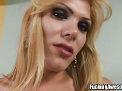 Blonde shemale & a red dildo