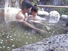 Japanese couple fucks in the onsen