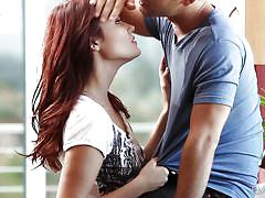 babe, redhead, blowjob, kitchen, kissing, undressing, babes, logan pierce, christine paradise