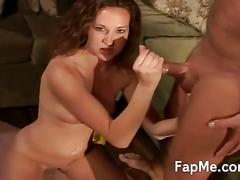 Cute brunette gives dude nice handjob