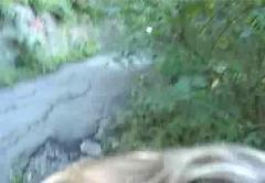 Blonde blowjob in the park for money