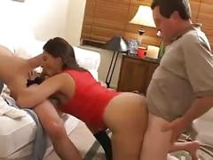 Cheating drunk wife gangbanged by friends while hubby's away
