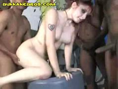 Interracial deepthroat and gang
