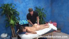 Horny slut seduced by massage therapist