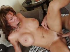 Busty brunette milf deauxma rides her man's cock