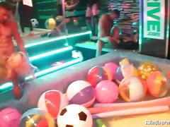 Naughty party chicks fuck and suck in club orgy