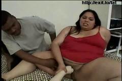 Fat ebony girl,  cum on her tongue