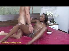 Ebony slut rides a white dude's very hard cock