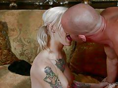 milf, tattoo, blonde, blowjob, undressing, badass, punk girl, burning angel, kleio valentien, will powers