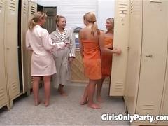Five hot girls in a lesbian orgy