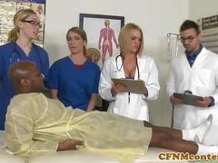 Cfnm nurse and doctor gets busy getting fucked.