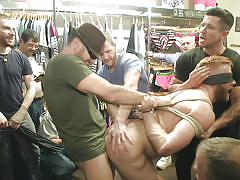blindfolded, gay blowjob, gay gang bang, tied gay, in public, bound in public, kink men, christopher daniels, jessie colter, trenton ducati
