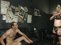 The sultry shemale make him suck on her massive erection