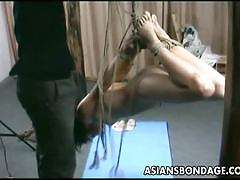 Japanese lass getting her sexy petite body tied up
