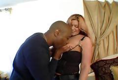 Stiff black boner for a hot babe