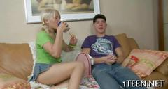 Tenacious blowjob from a very hot blonde beauty