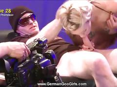 Two hot blondes in two wild gang bangs
