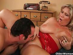 Glaze mom's big tits with cum