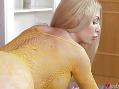Isabella and pussykat try on their crotchless bodystockings