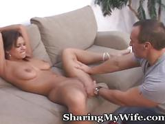 Hubby and wife cum over for a surprise