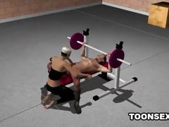 3d babe riding a stud's cock while he lifts weights