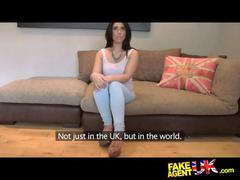 Fakeagentuk pretty girl takes a massive facial on...