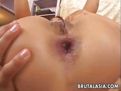 Hot japanese babe gets her asshole brutally fucked