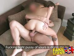 Fakeagentuk creampie reward for girl who knows how to deep throat cock