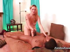 Fat ass slut served with huge black cock