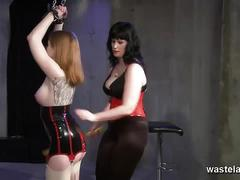 Tattooed slave dominated by naughty mistress